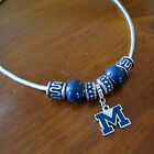 MICHIGAN WOLVERINES BLUE EUROPEAN BEAD Crystal Enamel Pendant NECKLACE JEWELRY