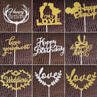 Gold Happy Birthday Engagement Wedding Love Cake Topper Party Favor Decoration