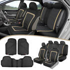 Car Seat Covers Heavy Duty Rubber Floor Mats - Split Seat Full Interior Set