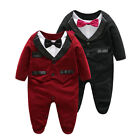 Gentleman Infant Baby Boy Tuxedo Romper Outfit Dress Suit Formal Wedding Easter