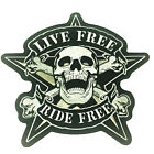 Live Free Ride 9 Inch Skull Crossbones XXL Large Biker Patch Embroidered Iron On