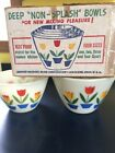 Anchor Hocking Fire King Tulip Bowls Original Box Mixing 2 Qt. 3 Qt. Heat Proof