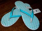 NWT ADIDAS EEZAY DOTS SLIDES SANDALS FLIP FLOPS 10 TURQUOISE WHITE RUBBER SOLES