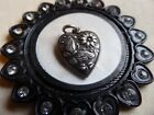 Vtg Sterling Authentic Old 40s Puffy Heart Charm Butterfly and Daisy
