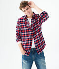 aeropostale mens long sleeve plaid flannel woven shirt