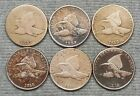 Lot Of 6 Lower Grade Flying Eagle Small Cents 2 1857  4 1858