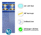 12 x 24 x 48 Oval Unibead Mosaic Above Ground Swimming Pool Liner 25 Gauge