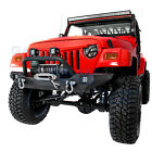 Rock Crawler Front Bumper+Winch Plate+2pcs LED Light for 97 06 Jeep Wrangler TJ