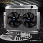 Aluminum Racing Radiator + 2 10 FAN For 72 86 Jeep CJ CJ5 CJ6 CJ7 38 50