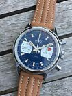 Vintage BWC Chronograph with Valjoux 7733. Rare blue dial.