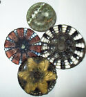 LOT of 4 FABULOUS ANTIQUE VICTORIAN LACY GLASS BUTTONS MED  LG ALL PERFECT