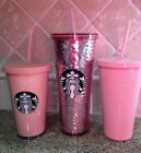 NEW Starbucks 2017 PINK Cold Cup Tumblers LOT of 3 Glitter + Sequin + Solid Roae