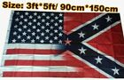 2017 NEW 3x5ft USA American Flag with Half Rebel Civil War Banner