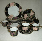 22 Pieces~Place Settings for 4 Fitz & Floyd Cloisonne Peony Black w/ Extra S & P