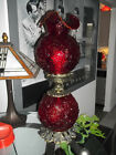 Beautiful Vintage FENTON Ruby Red  POPPY  Gone With The Wind 24 Glass Lamp