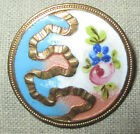 ANTIQUE FRENCH CHAMPLEVE ENAMEL BUTTON w HAND PAINTED FLOWER  GOLD GILT RIBBON