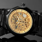 Luxury Men Black Gold Skeleton Dial Stainless Steel Automatic Mechanical Watches
