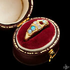 Antique Vintage Art Nouveau 18k Gold English Australian Opal Diamond Ring Sz 7