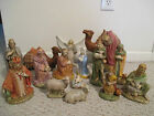 Vintage Nativity Set Chalkware Plaster 16 pc set Hand Painted Beautiful