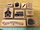 Stampin Up 9 Wooden Mounted Rubber Stamps Stamping Golden Rule Days School