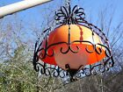 Vtg Mid Century Modern Black Wrought Iron Orange Dome Swag Lamp Hanging Light