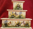 3 Beautiful Hand Painted Stack-able Wooden Drawer Boxes with Butterfly Pulls