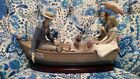 LLADRO HAND-MADE SIGNED LARGE FIGURINE AMOR ROW BOAT WITH WOODEN BASE SPAIN
