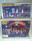 Vintage 1979 Wee Craft Nativity Scene  Lighted Stable Set Unpainted Christmas