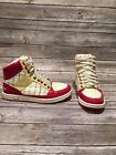 COACH NORRA A1432 Red Multi Color Plaid High Top Women Shoes Sneakers Size 8 M