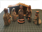Vintage Tonala jal Mexico Ceramic Nativity Scene Dolls Folk Art SET 9 pcs