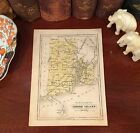 Original 1852 Antique Pre-Civil War RHODE ISLAND Hand-Colored Engraved Map