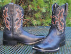 ARIAT BLACK Tombstone DEERTAN LEATHER WESTERN BOOTS Square Toes YOUTH sz 5