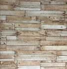 vinyl Wallpaper textured brown vintage faux rustic barn Distressed wood boards