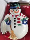 FITZ AND FLOYD Snack Therapy Chip & Dip Snowman Platter Tray Christmas Holiday