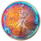2003 American Silver Eagle ASE 1 Dollar Coin Beautiful Rainbow Toning