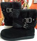 G by Guess Aziena Strappy Buckle Faux Fur Lined Winter Boots Black Size 6 M