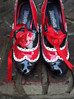Funtasma Queen of Hearts 4 Heels Pump Shoes Red White Black Patent Sz 9