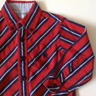 Tommy Hilfiger Toddler Boy Size 2T Crimson Navy Striped Cotton Long Sleeve Shirt