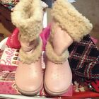 Crocs Girls Cotton Candy Pink Nadia Sherpa Fur Lined Pull On Boots J 2 4