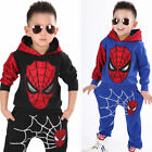 Spiderman Hoodies Toddler Boy Long Sleeve Hooded Tops Pants Kids Outfit Set 2 7T
