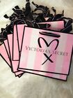 NEW 10 Victorias Secret Pink Striped Vinyl Paper Gift Shopping Bags Small Tote