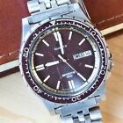 Vintage Seiko Quartz Divers Watch Maroon Bezel/Dial 7123-823F Not Working
