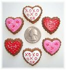 6PC VALENTINE HEART COOKIES FLAT BACK RESINS FLATBACK 4 HAIRBOW BOW CENTER