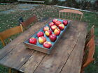 Primitive Apple Tray Early 1800s Wood Blue Paint Patina Dovetailed Canted