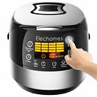 LED Touch Control Electric Rice Cooker Elechomes CR502 10 Cups Uncooked   Steel