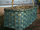 Vintage Primitive Gathering Basket Old Style Blue Paint Handwoven Oak Splnt