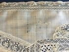 Antique unusual Normandy lace piecework runner COLLECTOR DECOR