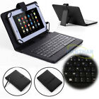"US 7""-10.1"" Android Tablets Universal USB Micro Keyboard Flip PU Leather Cover"