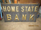 Vintage Late 1800s Home State Bank Hand Made Wood Dbl Sided Advertising Sign