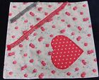 VINTAGE SHABBY CHIC FLORAL COTTON DOT HEART LACE APPLIED  PILLOWCASE 37X34CM VG